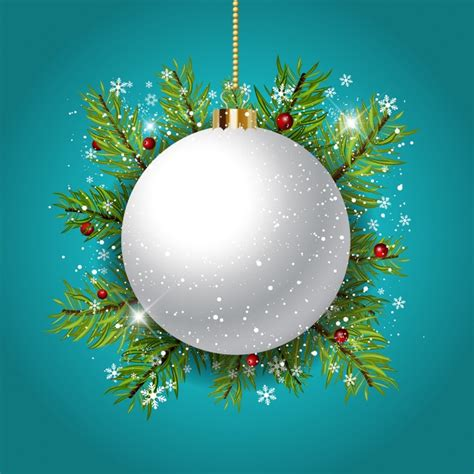 blue background with a white christmas ball vector free