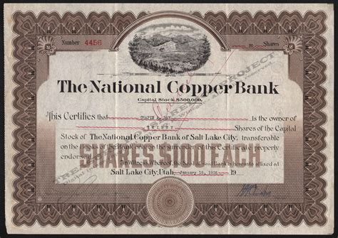 Syndicate Bank Letterhead Utah Mining Stocks N