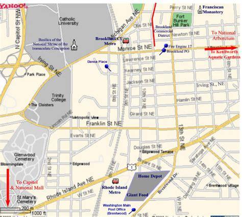 washington dc universities map brookland map