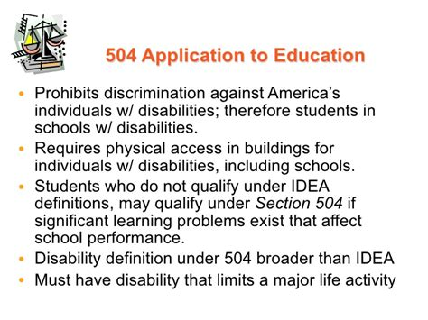 section 504 definition introduction legislation and litigation ppt with notes