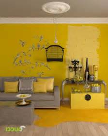 yellow living room walls yellow living room interior color themes with bird sticker