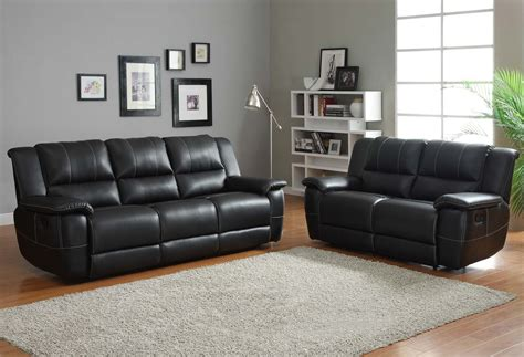 Living Room Black Sofa Homelegance Cantrell Reclining Sofa Set Black Bonded Leather Match U9778blk 3 Homelement
