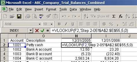 Debit Credit Formula Excel Excel Vlookup To Compare Trial Balances Function And Exle Cparesourcezone