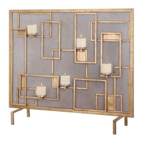 uttermost gold leaf fireplace screen candleholder with