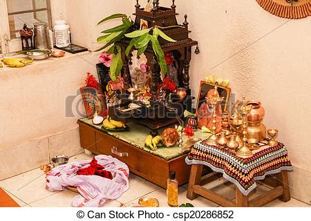 English Homes Interiors stock images of typical prayer room hindu south indian