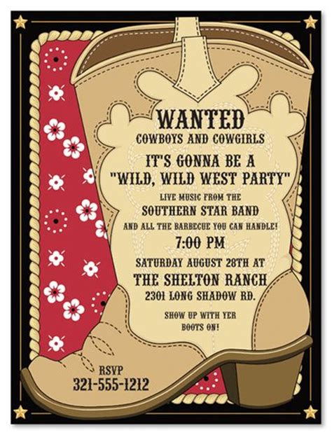 Free Template For Labels For Cards Western by 25 Best Ideas About Cowboy Invitations On
