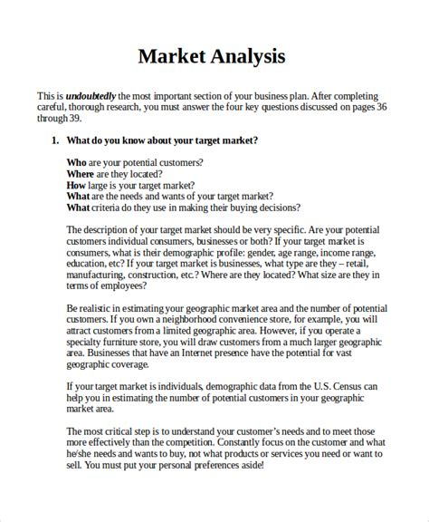 business analysis plan template sle market analysis 10 documents in pdf word