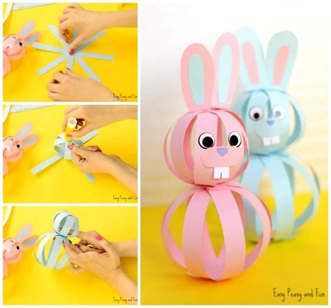 Paper Easter Crafts - easy paper bunny craft easter idea for easy peasy