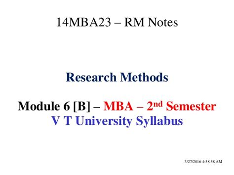 Mba Research Modules by Research Methods Module 6 B Pdf