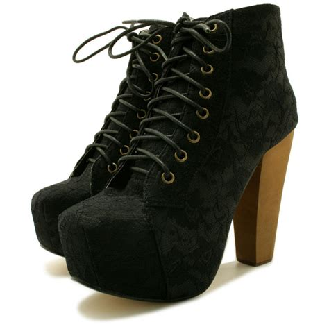 buy lace up wooden block heel concealed platform