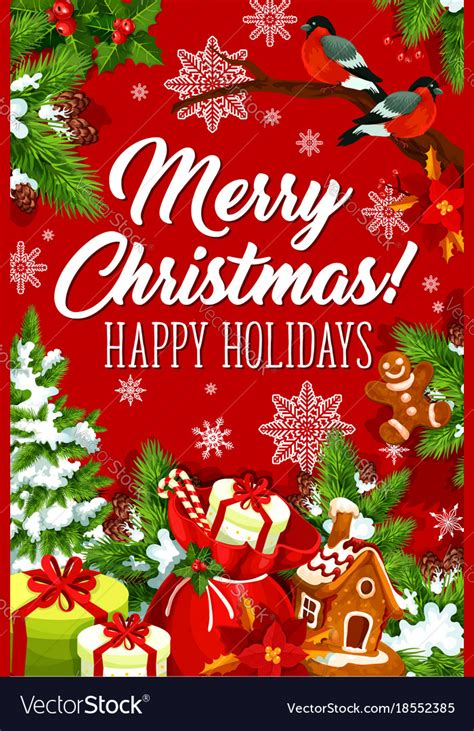 merry christmas happy holiday greeting card vector image