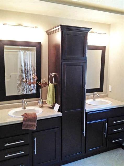 Bathroom sink split by beautiful linen closet   My Home