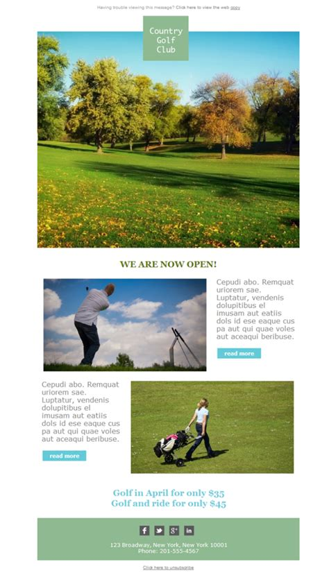 Plantilla De Newsletter Responsive Gratis Quot Golf Country Club Quot Para Email Marketing Mailify Golf Newsletter Templates