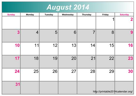 printable 2014 monthly calendar template pictures to pin