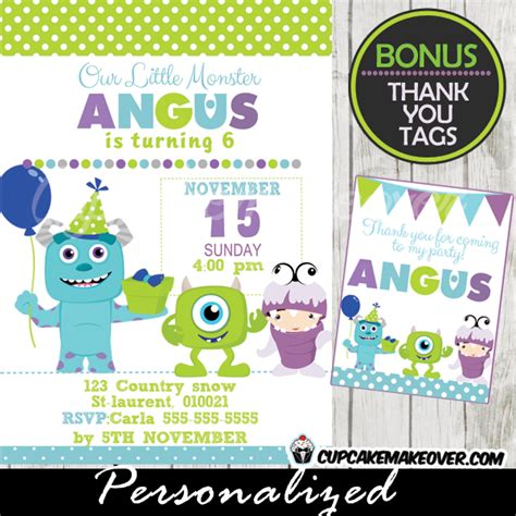 Monsters Inc Birthday Party Invitation Card Boys Personalized D2 Cupcakemakeover Monsters Inc Birthday Invitations Template