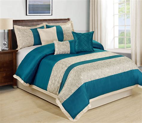 teal comforter set queen 7 piece liverpool teal beige comforter set