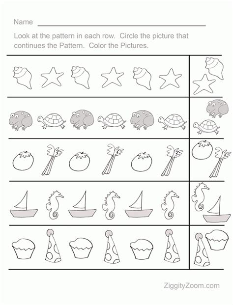 Free Printable Pre K Worksheets by Pattern Sequence Pre K Worksheet 1 Ziggity Zoom