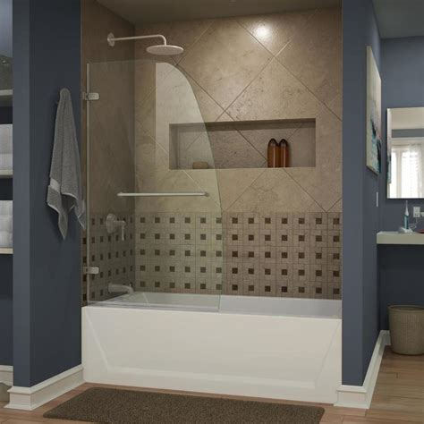 Shop Dreamline Aqua Uno 34 In W X 58 In H Frameless Tub With Glass Doors