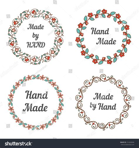 Handcrafted By Labels - handmade labels with floral wreaths stock photo 314269046