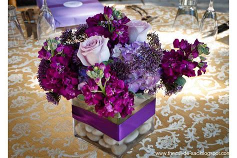purple flower arrangements centerpieces the cul de sac wedding flowers