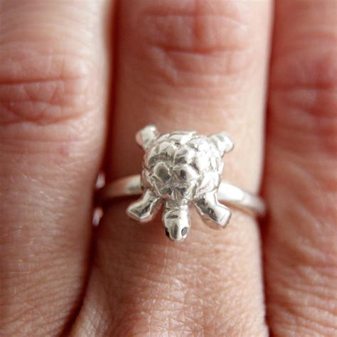tortoise ring sterling silver by rock cakes