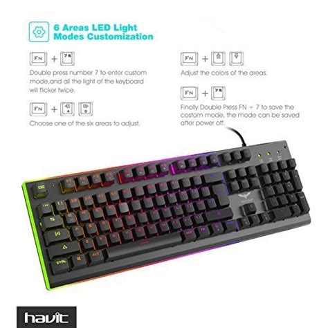 havit rgb backlit wired membrane gaming keyboard import