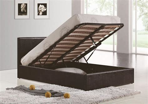 King Size Ottoman Bed Frame Berlin Ottoman Faux Black Leather King Size Bed Frame 150cm 5ft