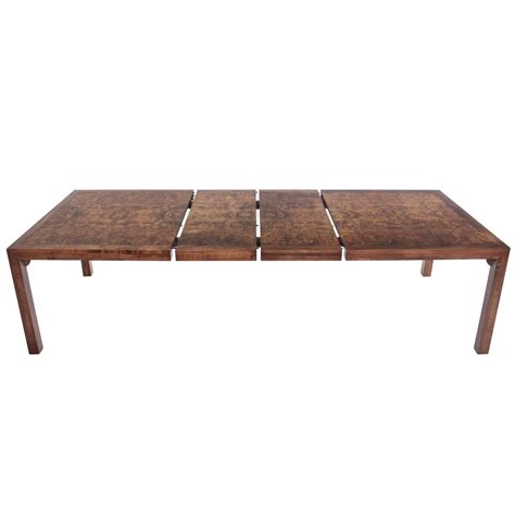 burl walnut mid century modern dining table with two