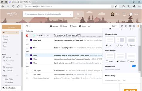 change yahoo mail page layout how can i change themes in yahoo mail ask dave taylor