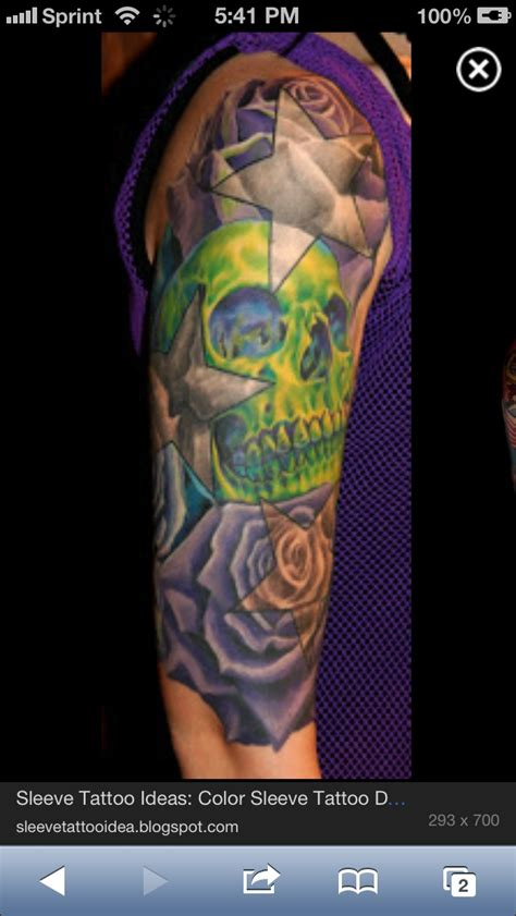 half sleeve star tattoos half sleeve color skull n