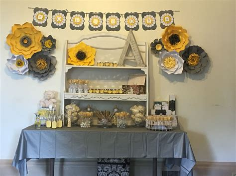 Yellow And White Baby Shower Ideas by White Yellow And Gray Baby Shower Ideas Paper Flowers