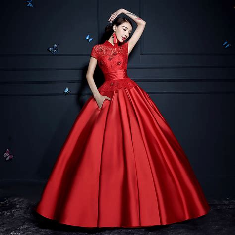 gothic wedding dresses chinese clothing chinese dress floral lace short sleeve mandarin collar chinese red