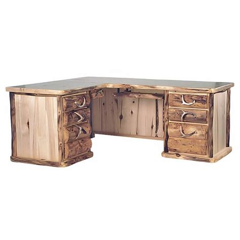 aspen home l shaped desk aspen mountain l shaped 7 drawer log desk home