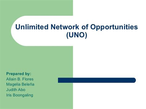 Uno Mba Program Plan by Unlimited Network Of Opportunities Uno