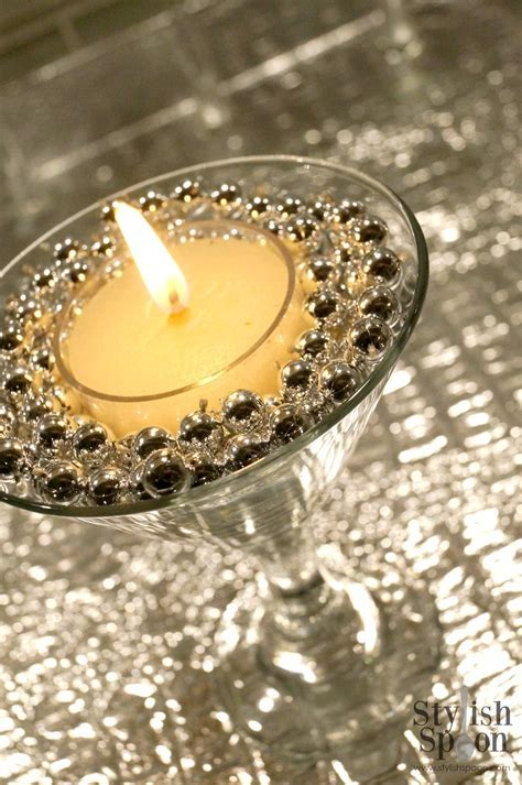 DIY :: Silver Bead Martini Glass Candle Holders   Stylish