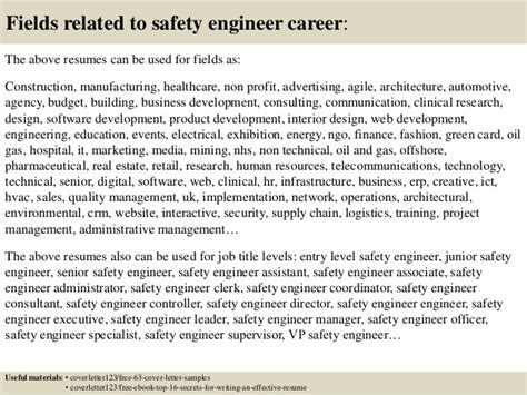 Technical Safety Engineer Cover Letter by Top 5 Safety Engineer Cover Letter Sles