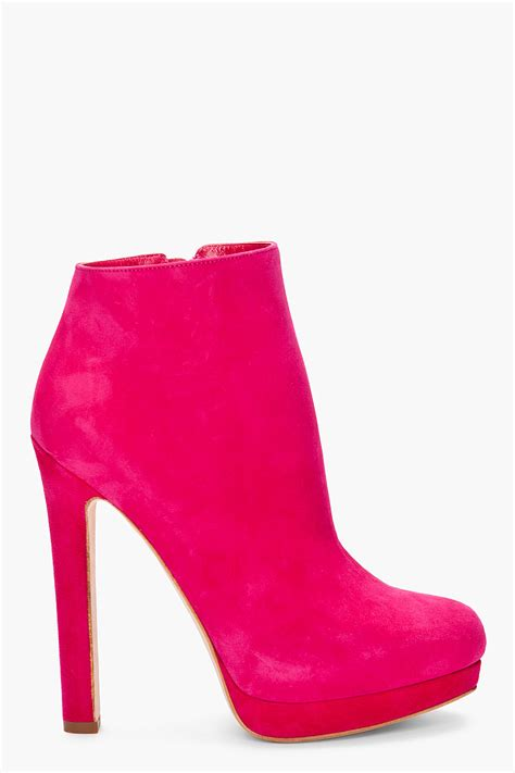 pink ankle boots lyst mcqueen suede ankle boots in pink