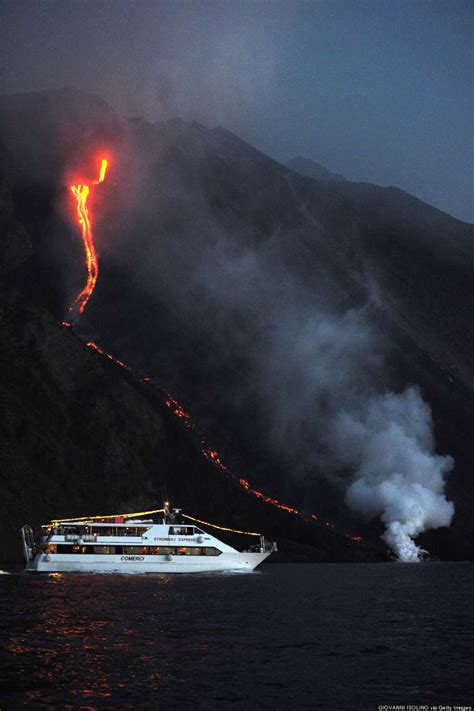 lava boat tours cancelled stromboli volcano erupts in front of tourists it s