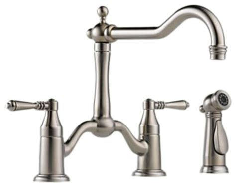 houzz kitchen faucets brizo 62536lf ss tresa stainless steel bridge kitchen faucet traditional kitchen faucets
