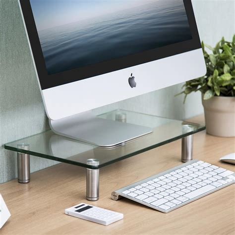 Fitueyes Clear Computer Monitor Stand Desktop Riser With Computer Desk Tops