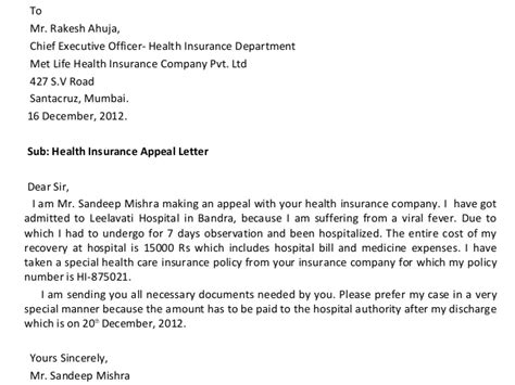 Appeal Letter To Insurance Company From Provider Letter Presentation
