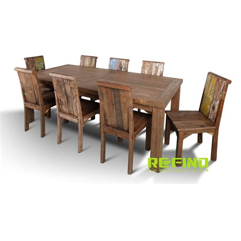 Recycled Teak Dining Table Reclaimed Teak Wood Dining Table With 8 Chairs