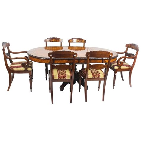 pollard oak marquetry oval victorian dining table