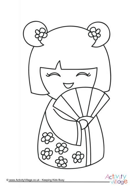 coloring pages of japanese dolls kokeshi doll colouring page 1