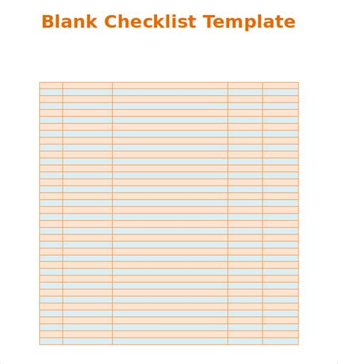 blank list template search results for blank checklist template to do