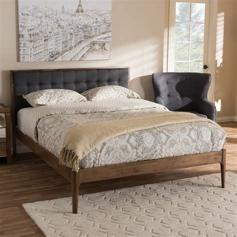 baxton studio jupiter mid century modern grey fabric upholstered button tufted king size