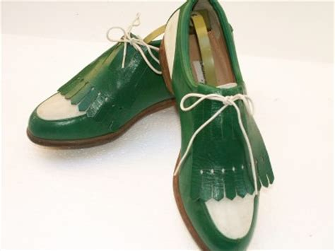 vintage womens walter genuin green white golf shoes 7 b