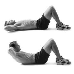 abdominal crunches   place  arms   chest    head