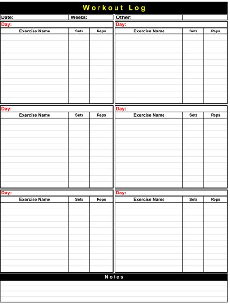 workout log template 5 plus workout log templates to keep track your workout plan