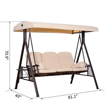 balcony swing chair outsunny swing chair lounge canopy outdoor 3 person garden